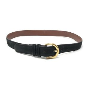 Coach Classic Black Nubuck Leather & Brass Belt